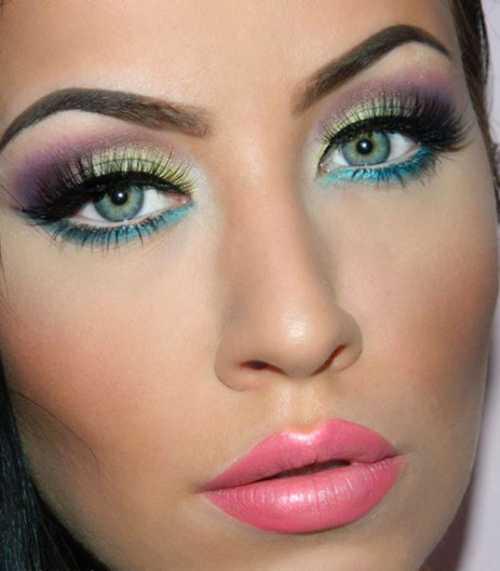 Новогодний макияж для зеленых, карих, голубых, серых глаз