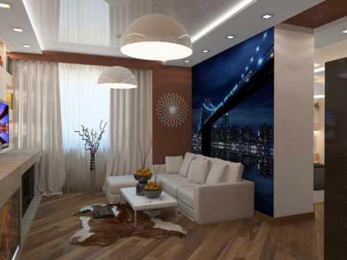Маленькая гостиная в квартире с камином